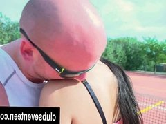 Sweet teen babe fuck her trainer outdoors