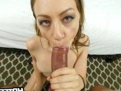 Hot looking babe gives amazing blowjob
