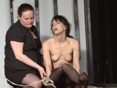 Rough lesbian domination of slaveslut Elise Graves