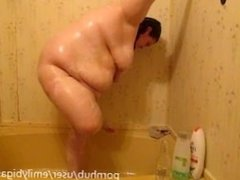 taking a pee then showering washing and playing with my body