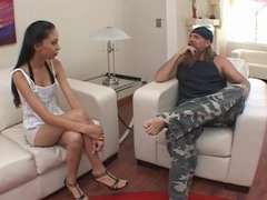Old biker tempted young peacherino with mocha skin Alexis Love and propoesed her to swallow the glass of cum after sex