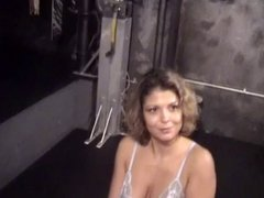 Big tits whore into bondage and BDSM with an older guy