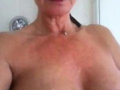 Milf Jackie taking a shower