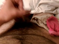 Jerkoff with sock and panties from some dirty girl