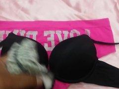 Cumming on Teen Victoria Secret Black Bra and Pink Panties