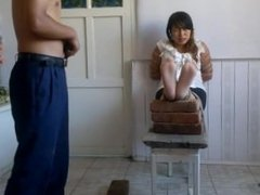 Chinese tied and foot whipped