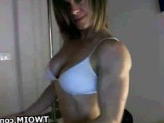Bodybuilder Flexing On A Cam Show