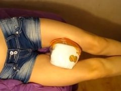 Flexible girl showing legs scissors force