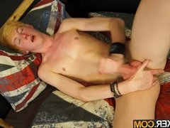 Smooth 18 year old twink plays with his uncut cock