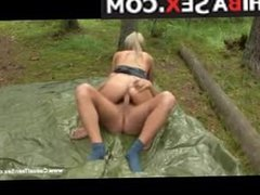 Marvelous blonde teen with a hot ass getting nailed hard in the woods