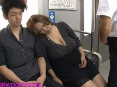 Big tits asian fucked on train