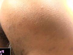 Ebony femboy tugging on hard dick