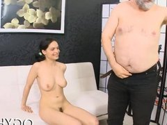 Cute young gal fucked by old guy