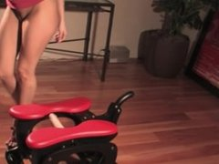 Beauty rides the Sybian in different positions