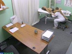 Long Legged Brunette gets Breast Exam