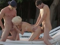 hot threesome with blonde girl