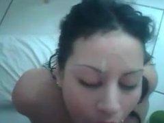 Cumming on cute chica girlfriend's face