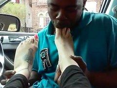 Sexy feet worship licking toe suck ebony man ayak