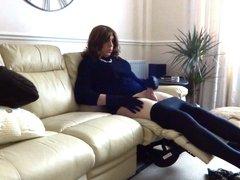 Reclined wank - Sexy Crossdreser Alison Thighbootboy
