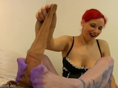 Stretching pantyhose and cock tease
