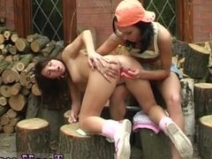 Sexy teen blond girl Cutting wood and tonguing pussy