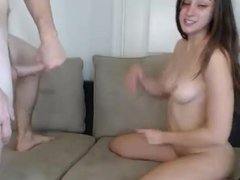 Hot young couple fuck on couch