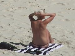 topless blonde in thong bikini at beach voyeur candid