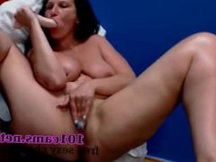 Gilf  cams Busty brunette valiantly manipulates dildo in her pussy