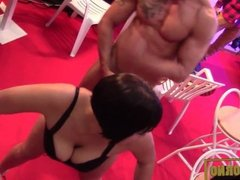 Pornstars fuck in public in Barcelona stage