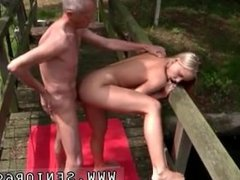 Nude images of young and old punished Naked on a bridge in a public park