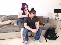 Busty BBW Student Massages Teachers Dick and Balls