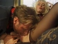 Smoking fetish whore in red leather 'n lipstick dped & takes double facial