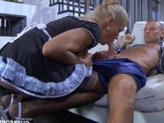 Slutty russian blonde mature gives ass to her younger lover