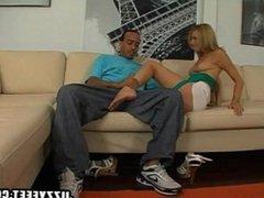 Blondie makes him cum with her feet
