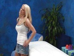Big tits amateur seduced in massage room