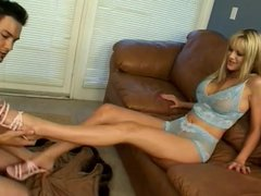 blond gets her feet fucked