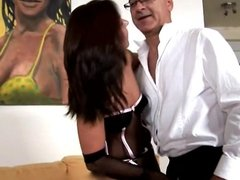 Old man and his friend play with hot woman