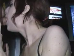 Blue eyed red head blows in the gloryhole
