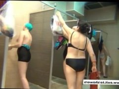 many amateurs in a public shower caught on spy camera