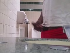 Boy Jerking in Public toilet and caught by straight men pissing in urinal