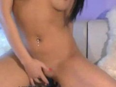 Sexy latina rides dildo on webcam