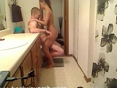 Sexy Blonde Girl Has Sex In Bathroom