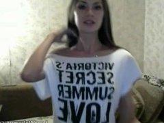 Hot babe strips on webcam