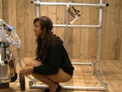 Human Cow - Ebony Girl don't like to be milked