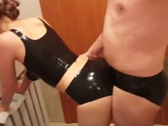 Sex with my wife in black latex pants and top at home