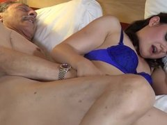 young brunette 2cond time fucked on camera by old man