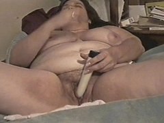 BBW milf squirts using a dildo on her huge wet hairy pussy