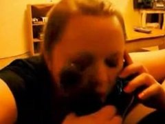 Cheating Wife Blowing BBC with Hubby on the Phone