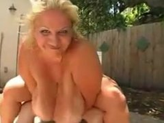 Big Ass and Boobd Blonde BBW Fucked Outside