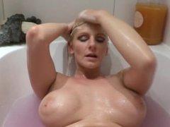Sehy blonde girl hair washing